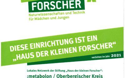 """Die städtische Kita Weiershagen ist zum 4. Mal zum  """"Haus der kleinen Forscher"""" zertifiziert"""